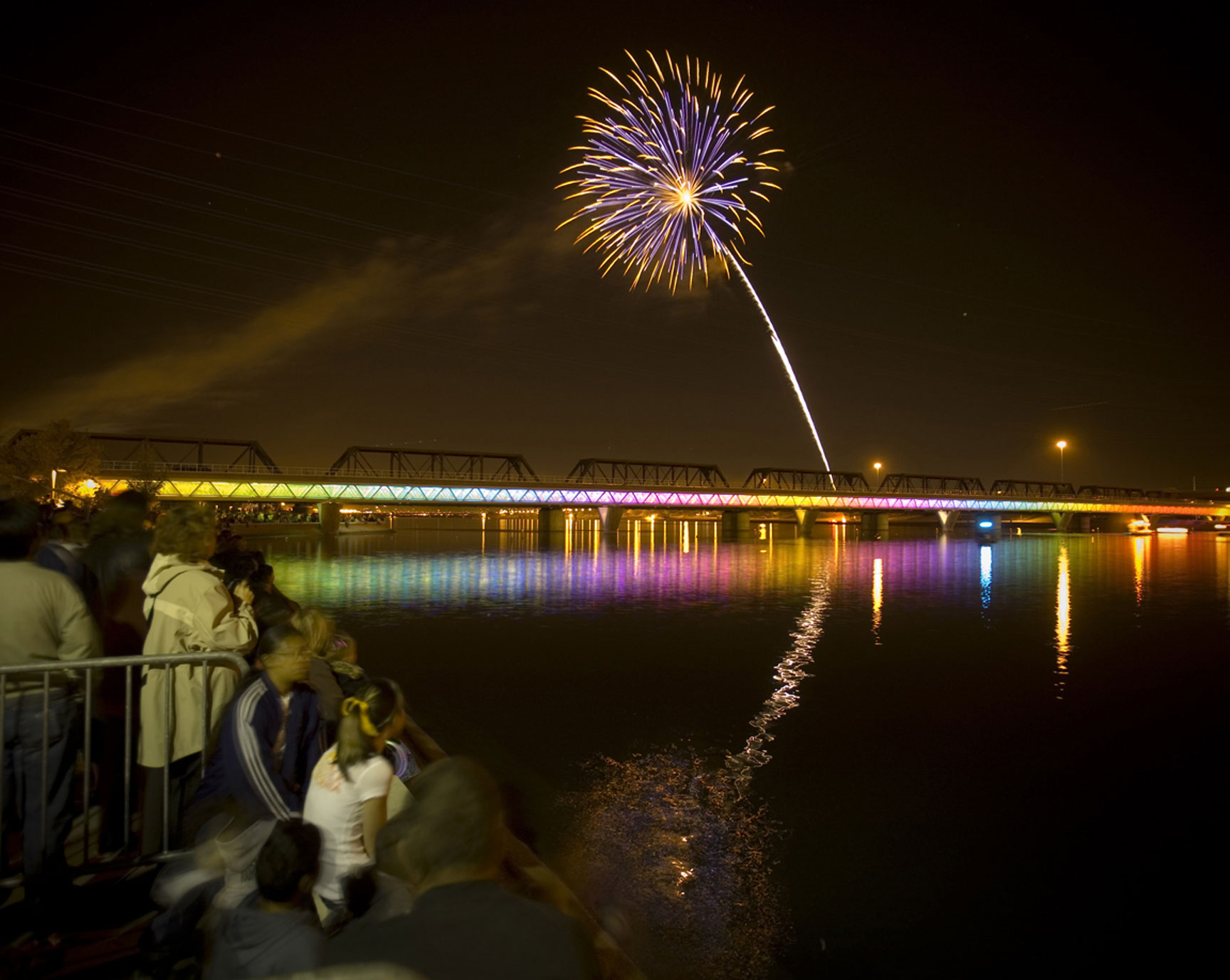 Light Rail Bridge During Fireworks Display